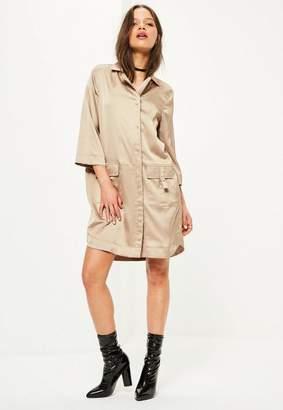 Missguided 3/4 Pocket D Ring Shirt Dress