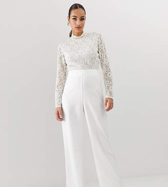 Missguided belted jumpsuit with lace top in white