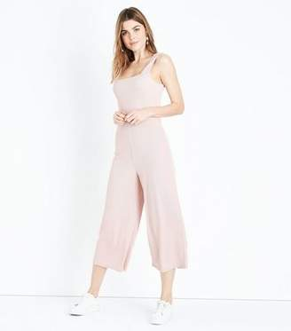 New Look Mid Pink Ribbed Square Neck Culotte Jumpsuit