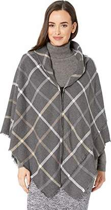 Collection XIIX Women's Window Pane Zipper Poncho