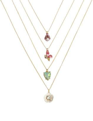 Betsey Johnson Opulent Floral Set of 4 Faux Pearl Crystal Pendant Necklaces