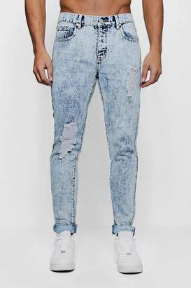 boohoo Skinny Fit Acid Wash Jeans with Distressing