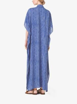 Michael Kors Mariner Stripe Silk-Georgette Caftan