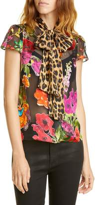 Alice + Olivia Jeannie Pattern Mix Puff Sleeve Bow Blouse