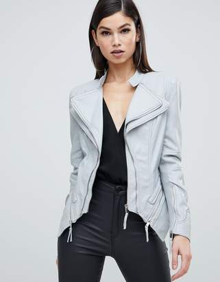 Forever Unique zip detail faux leather jacket