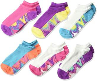 Fruit of the Loom Big Girl's 6 Pack Tie Dye Flat Knit No Show Socks