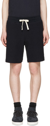 Aime Leon Dore Navy Reverse Terry Shorts $135 thestylecure.com