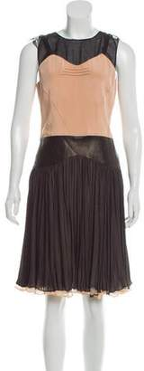 Sophie Theallet Silk Leather-Accented Dress