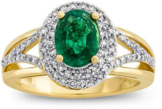 FINE JEWELRY Womens 1/2 CT. T.W. Genuine Green Emerald 14K Gold Cocktail Ring