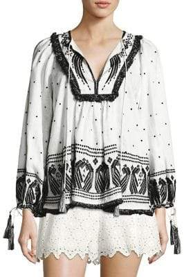 Zimmermann Divinity Peacock Embroidered Boho Top