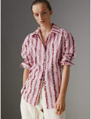 Burberry Scribble Stripe Cotton Shirt