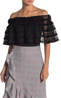Gracia Off-the-Shoulder Lace Layered Blouse