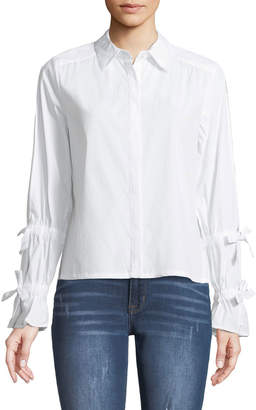 Marled By Reunited Open-Sleeve Bow-Tied Button-Front Blouse