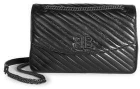 Balenciaga Quilted Leather Logo Crossbody