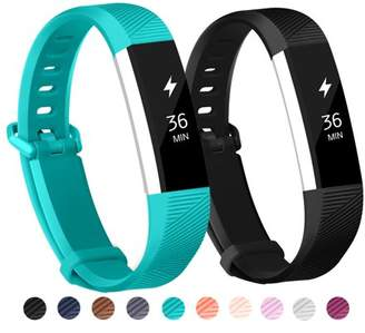 Fitbit POY 2-Pack Replacement Sport Wrist Strap Bands for Alta Alta HR (Black, Teal)