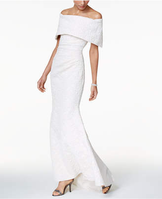 Betsy & Adam Off-The-Shoulder Jacquard Mermaid Gown $289 thestylecure.com