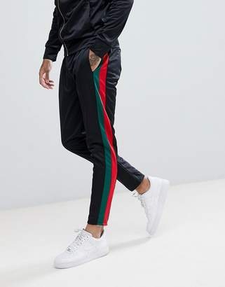 Criminal Damage Skinny Joggers In Black With Side Stripes