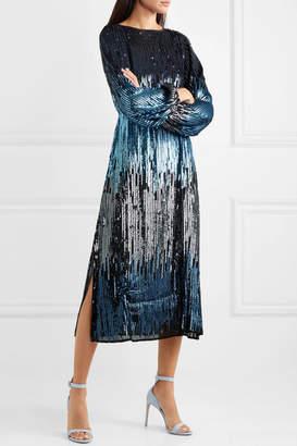 RIXO - Coco Ombré Sequined Tulle Midi Dress - Blue