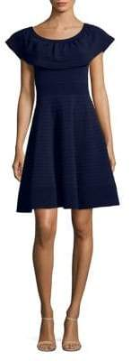Eliza J Pintuck Off-The-Shoulder Fit-and-Flare Dress