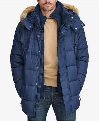Andrew Marc Men's Long Snorkel Down Coat with Faux-Fur Trim