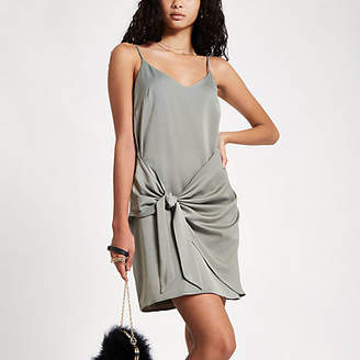 River Island Khaki tie front cami slip dress