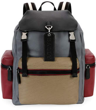 Bally Men's Embossed Multicolor Leather Backpack