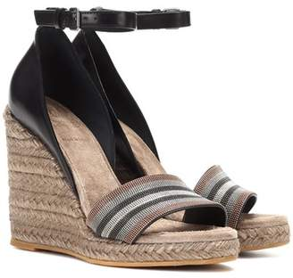 Brunello Cucinelli Leather espadrille wedge sandals