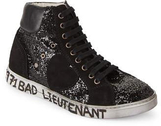 Saint Laurent Black Anitibe Distressed High Top Sneakers