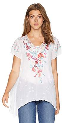 Johnny Was Women's Scoopneck Blouse with Scallop Hem and Multicolor Embroidery