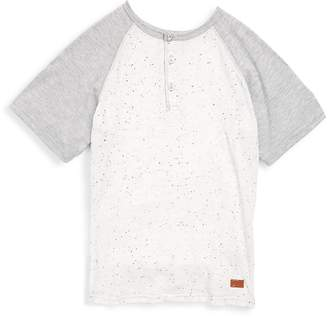 7 For All Mankind Boy's Raglan Tee - Heather Grey, Size l (14-16)