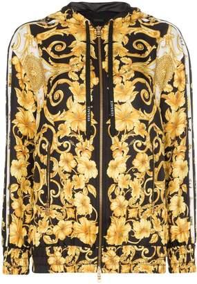 Versace zip front baroque print hooded jacket