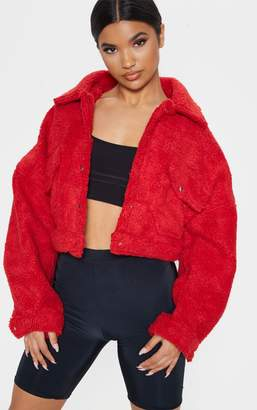 PrettyLittleThing Red Borg Cropped Trucker Jacket