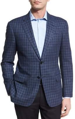 Armani Collezioni Houndstooth Check Two-Button Sport Coat, Black/Blue
