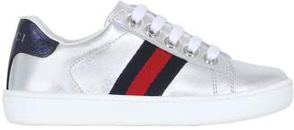Gucci Web Laminated Leather Sneakers