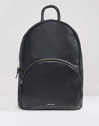 Asos DESIGN Backpack In Leather In Black With Braid Handle And Foil Logo