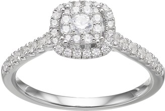 Vera Wang Simply Vera 14k White Gold 1/2 Carat T.W. Diamond Square Halo Engagement Ring
