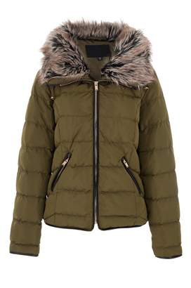 Quiz Khaki Padded Faux Fur Collar Zip Jacket