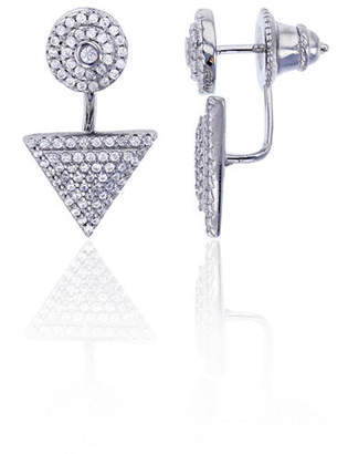 FINE JEWELRY Sterling Silver Cubic Zirconia Round Triangle Double Stud Earring