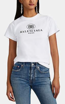 Balenciaga Women's Logo Cotton T-Shirt - White