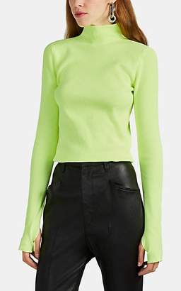 Helmut Lang Women's Rib-Knit Mock-Turtleneck Sweater - Green