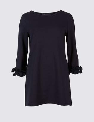 Marks and Spencer Cotton Rich Ruffle Cuff 3/4 Sleeve Tunic