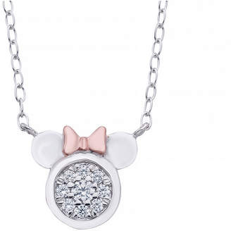 DISNEY CLASSICS Disney Classics Womens 1/10 CT. T.W. Genuine Diamond 14K Rose Gold Over Silver Minnie Mouse Pendant Necklace