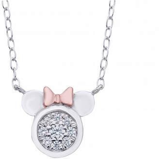 DISNEY CLASSICS Disney Classics Womens 1/10 CT. T.W. Genuine Diamond 14K Rose Gold Over Silver Minnie Mouse Pendant Necklace