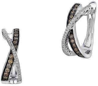 LeVian Le Vian Women's Chocolatier® Gladiator® Chocolate & Vanilla Diamond® Hoop Earrings
