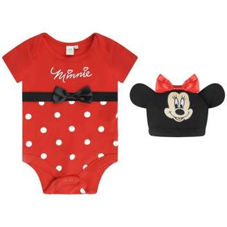 Disney BabyGirls Minnie Mouse Bodysuit With Hat
