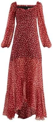 Raquel Diniz - Alice Poppy Print Silk Chiffon Gown - Womens - Red Print