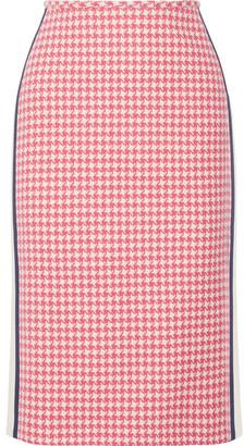 Prada - Paneled Houndstooth Wool Pencil Skirt - Pink