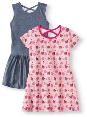 Pink Velvet Printed and Solid Dresses, 2-Pack (Little Girls & Big Girls)
