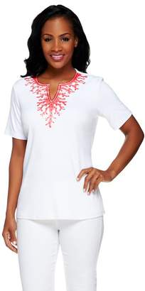 Factory Quacker Short Sleeve Coral Embroidered T-shirt