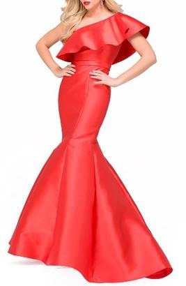 Women's Jovani Ruffle One-Shoulder Mermaid Gown $490 thestylecure.com